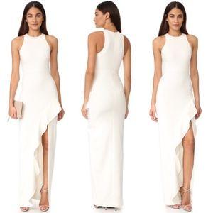 Cinq a sept piper asymmetrical ruffle slit gown